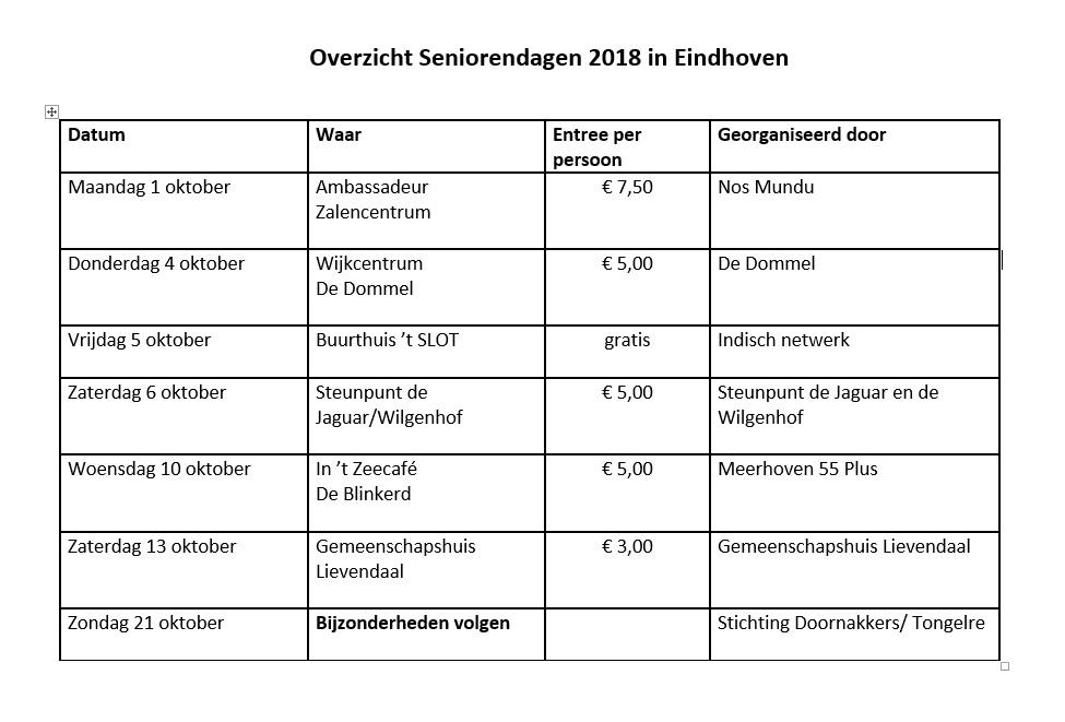 Programmaoverzicht seniorendagen Eindhoven 2018-1
