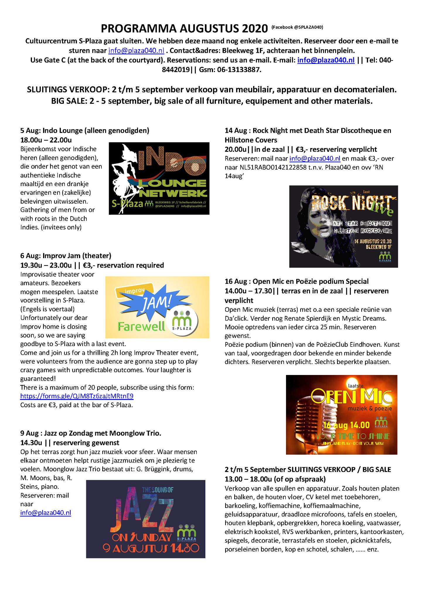 200803 Programma S-Plaza augustus 2020